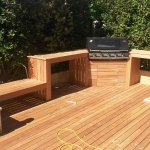 Decking, bench, seat and bbq cupboard