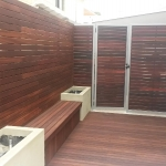 Jarrah decking, seat, screen, gate and fence